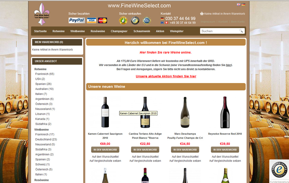 Online-Shop FineWineSelect.com
